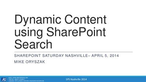dynamic content  search sps nashville