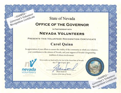 governors volunteer recognition certificate nevada