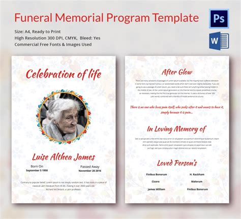 funeral memorial templates  word  psd