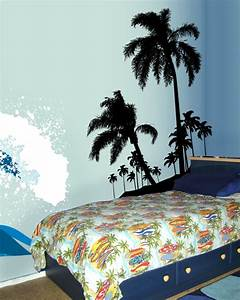 Surf39s up beach palms wall decal sticker for Beach wall decals