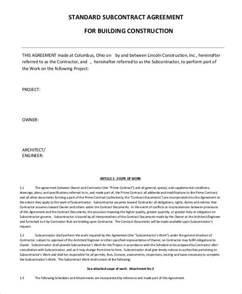simple subcontractor agreement templates word