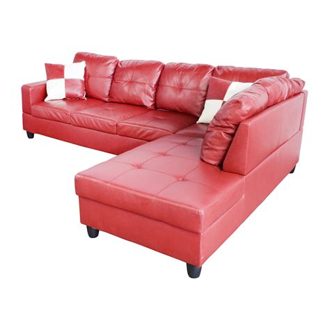 Unique Red Faux Leather Sectional Sofa Sofas