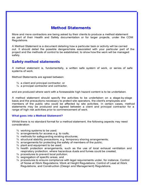 method statement   templates   word excel