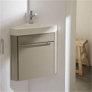 Lave Main Meuble Wc : meuble lave main d 39 angle couleur daim vasque planetebain ~ Premium-room.com Idées de Décoration