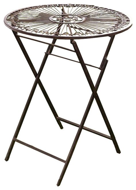 provence metal folding garden bistro table warm brown