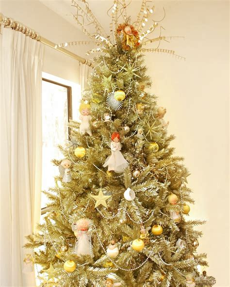 gold tipped christmas tree toasted chagne gold tinsel artificial tree treetopia