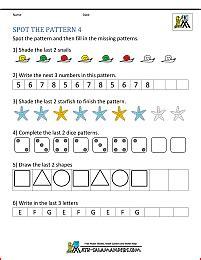 kindergarten worksheets spot  patterns