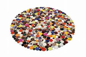 tapis rond design en cuir multicolor 150x150 tapis With tapis rond multicolore