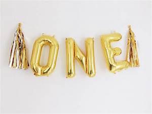 one balloons gold mylar foil letter balloon banner kit With gold letter banner kit