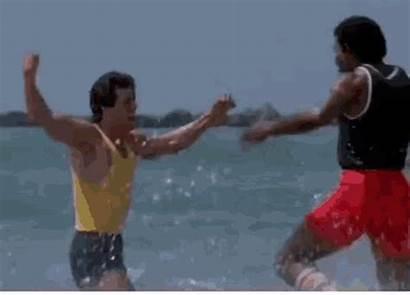 Stallone Gifs Rocky Apollo Hug Beach Running