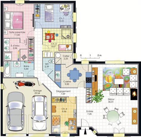 plan maison en l plain pied plan maison 4 chambres plain pied plans maisons