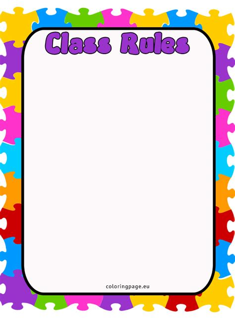 classroom rules template class rules coloring page