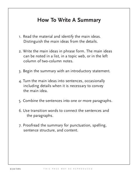 How To Write A by How To Write A Summary
