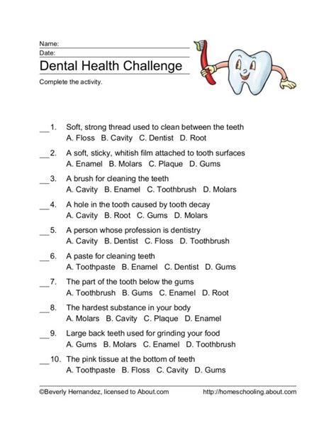 dental health worksheets for kindergarten free dental