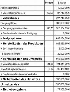 Herstellkosten Des Umsatzes Berechnen : kosten leistungsrechnung gewinnschwelle ~ Themetempest.com Abrechnung