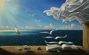 Digital, Art, Fantasy, Art, Nature, Painting, Sea, Seashell, Table, Wood, Curtains, Feathers