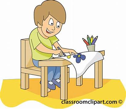 Student Desk Clipart Classroom Painting Working Clip