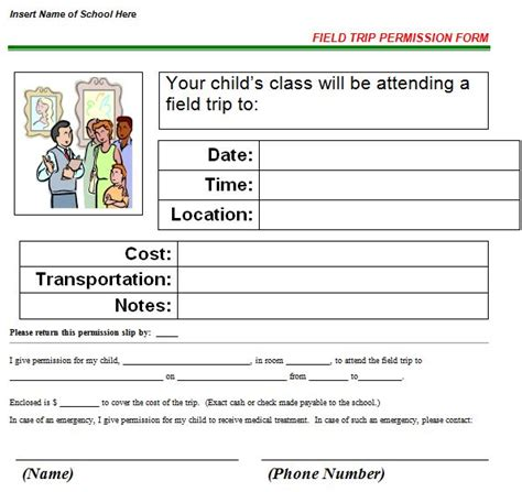 trip application form template 35 permission slip templates field trip forms free