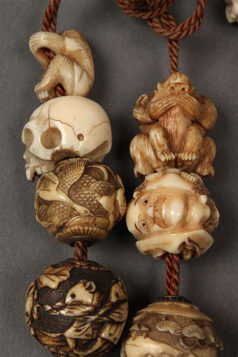 lot   ojime beads  shibayama ivory cinnabar