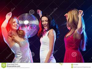 Three Smiling Women Dancing In The Club Stock Images ...