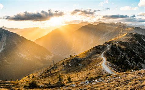 wallpaper  mountains sunrise path