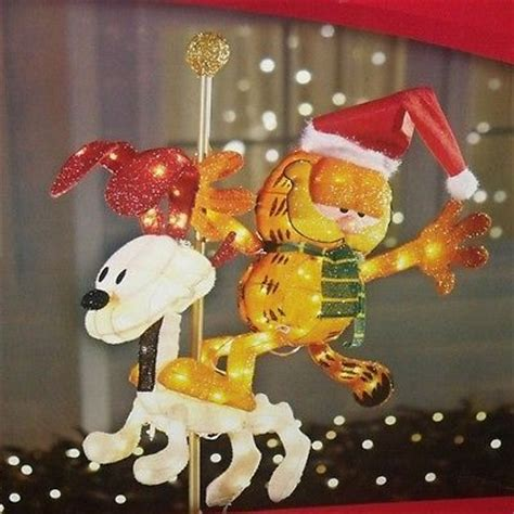 christmas outdoor lighted tinsel garfield odie carousel