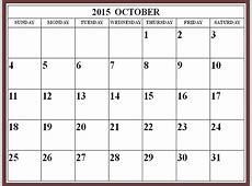 October 2015 Calendar Page – 2017 printable calendar