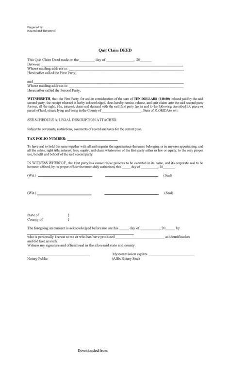 florida quitclaim deed form   format  databaseorg