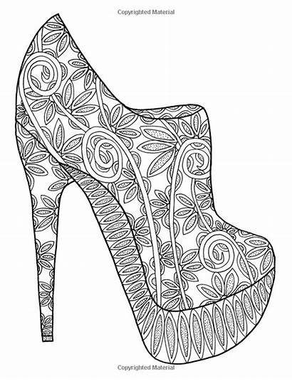Coloring Adult Pages Heels Shoes Books Adults