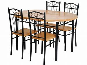 Table De Cuisine Et Chaises : ensemble table 4 chaises sally noir 52767 ~ Teatrodelosmanantiales.com Idées de Décoration