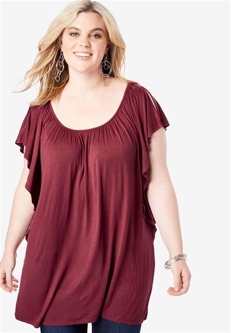 Drape Tunic - slit flutter sleeve drape tunic plus size tunics roaman s