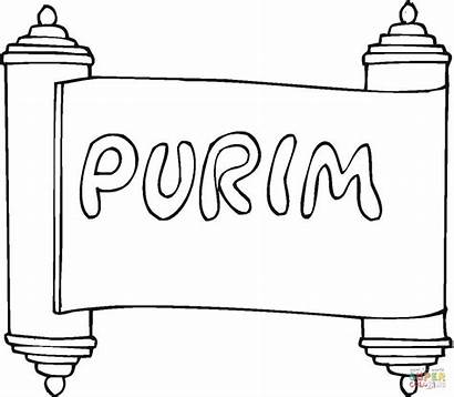 Coloring Purim Pages Scroll Crafts Printable Preschool