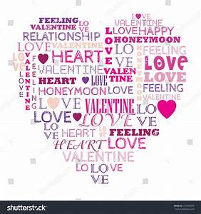Love Word Collage Composed Heart Shape Stock Vector ...