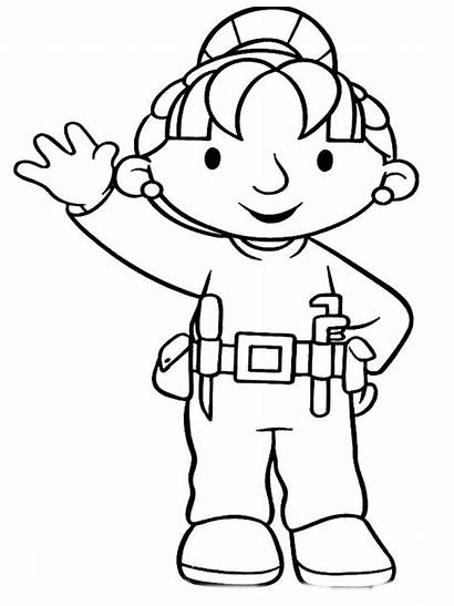 Coloring Builder Pages Bob Construction Worker Tools