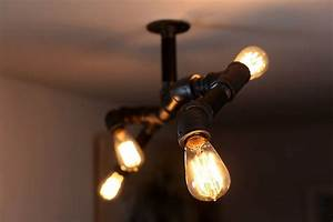 Diy steampunk style iron pipe edison fixture unmaintained