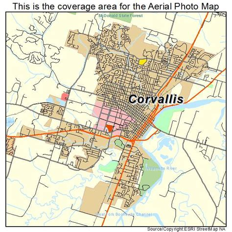 Aerial Photography Map of Corvallis, OR Oregon