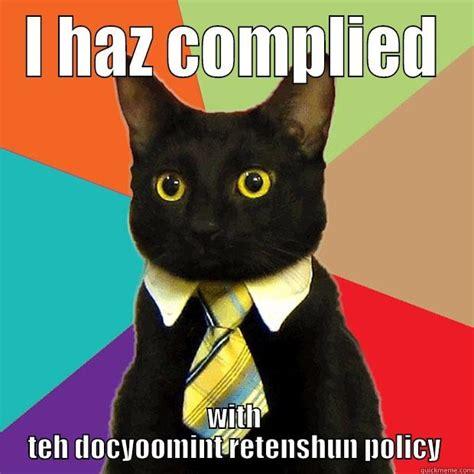 Business Cat Meme - business cat s document retention quickmeme