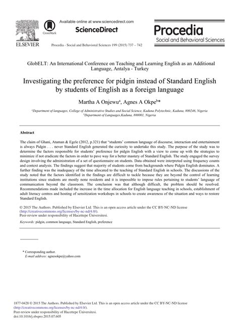 (PDF) Investigating the Preference for Pidgin Instead of