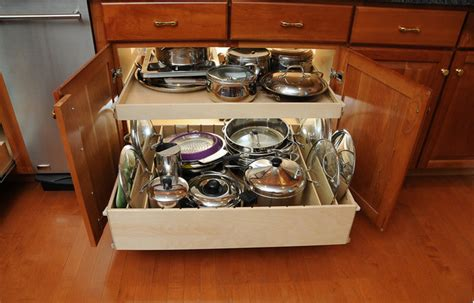 kitchen drawer pull organizers cabinet pan drawers cabinets organizer storage pot dividers shelves pots solutions these organize contemporary counter addition