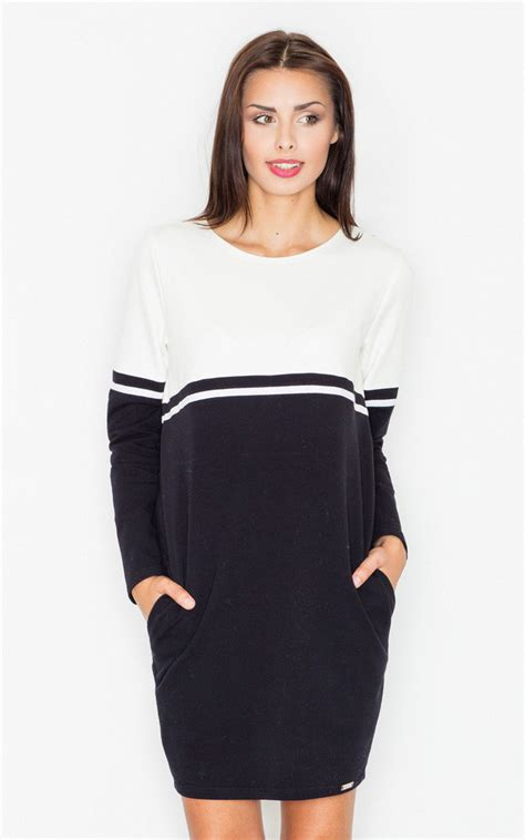 two color dress two color black ecru sleeve dress silkfred