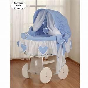 Lit Bébé Berceau : berceau b b osier blanc complet textile bleu achat ~ Teatrodelosmanantiales.com Idées de Décoration