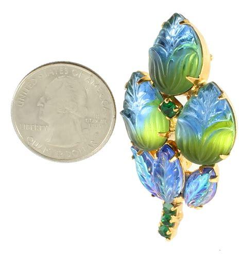 Vintage Blue Green Art Glass & Rhinestone Schreiner Pin 2