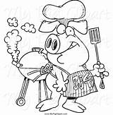 Pig Bbq Apron Clipart Barbecue Wearing Designs Grilling Hat Boar Royalty sketch template