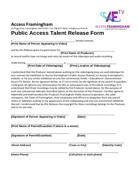free talent release form sle talent release 7 advice that you must listen before