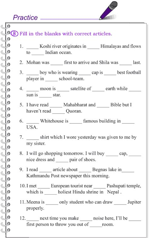 worksheets of articles for class 5 grade 4 grammar lesson 12 articles 5 aprendi 233 ndo
