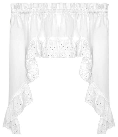 vienna eyelet white kitchen curtain swag traditional