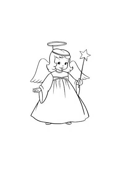 Coloring Christmas Pages Angel Angels Printable Drawing