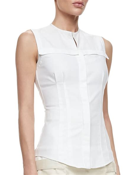 fitted blouses mcqueen fitted sleeveless poplin blouse white