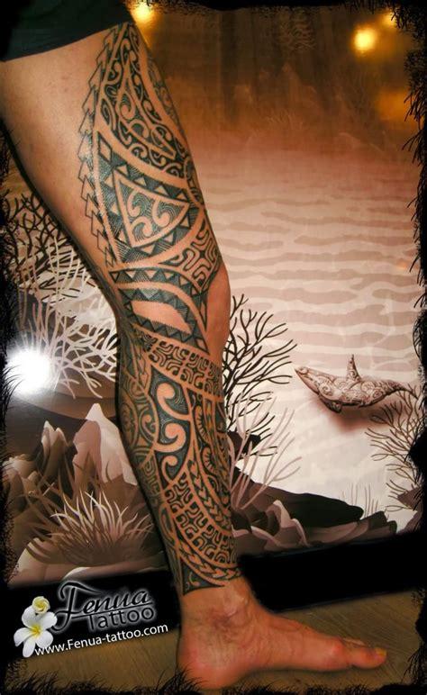 Tatouage Polynésien Sur La Jambe Et Cuisse Homme