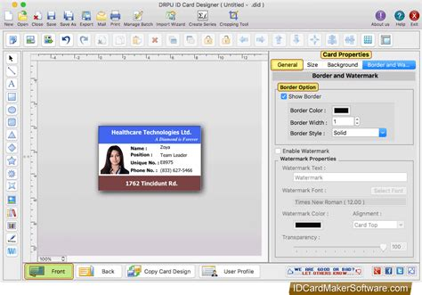 screenshots  id card designer  mac   id card